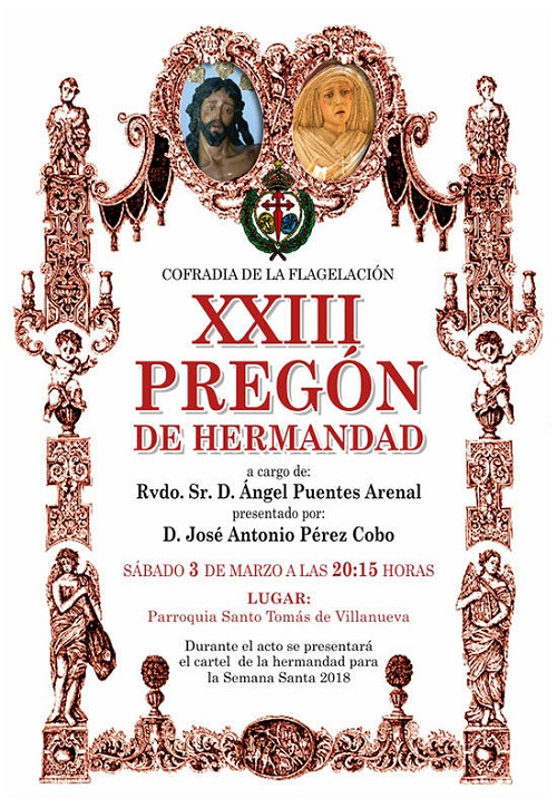 Ciudad Real La Cofradía de la Flagelación celebra este sábado el Pregón de Hermandad y presentación del cartel de la Semana Santa 2018