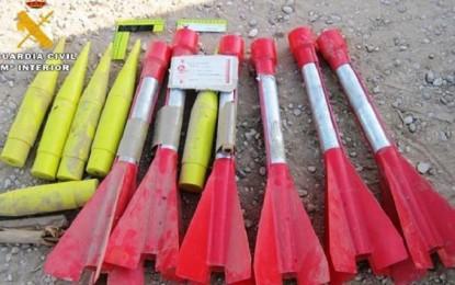 Bolaños: La Guardia Civil destruye 18 cohetes antigranizo que fueron localizados en una finca agrícola