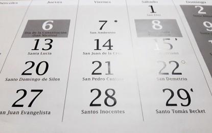 Castilla La Mancha: Publicados los días inhábiles a efectos administrativos del próximo año 2019