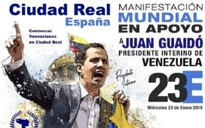 Ciudad Real: Los venezolanos se manisfestarán hoy en apoyo a Juan Guaidó, presidente interino de Venezuela