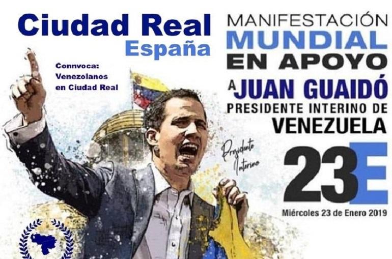Ciudad Real Los venezolanos se manisfestarán hoy en apoyo a Juan Guaidó, presidente interino de Venezuela