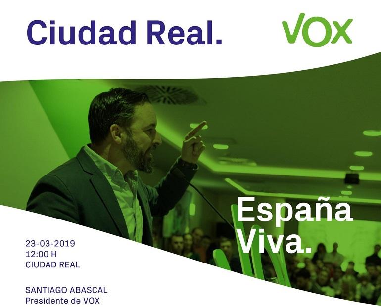 Ciudad Real El presidente de Vox, Santiago Abascal, asistirá a un acto electoral en el Paraninfo de la Universidad