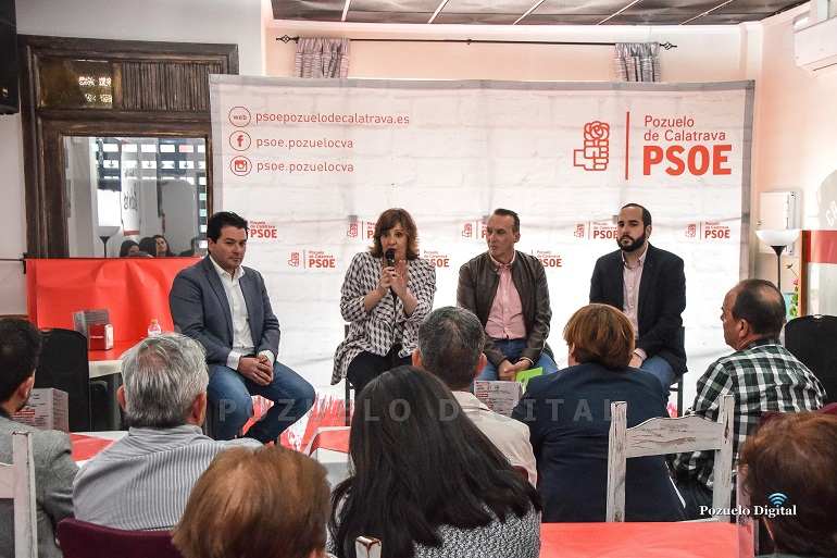 Pozuelo de Calatrava Patricia Franco y Miguel González piden el voto para el PSOE para que autónomos y empresarios sigan recibiendo el apoyo de los gobiernos socialistas