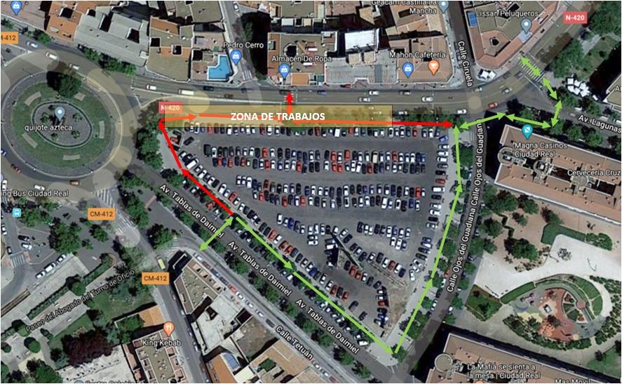 Las obras en la red de distribución de la Ronda de Ciruela motivan un cambio en el itinerario peatonal