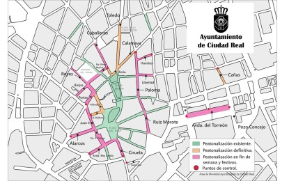 Ciudad Real cierra al tráfico diversas calles los fines de semana para favorecer la movilidad peatonal