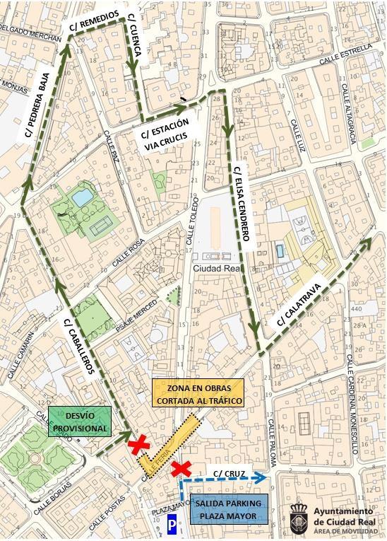 Desvio por obras en la calle Calatrava de Ciudad Real