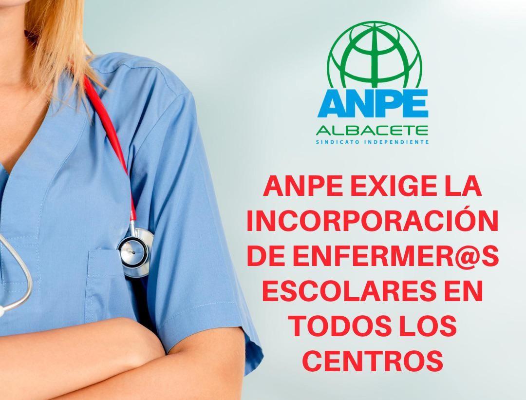 ANPE exige la incorporación de Enfermeras Escolares en todos los centros educativos de la región